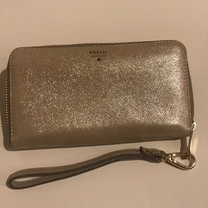 Fossil Gold Leather Wallet Wristlet